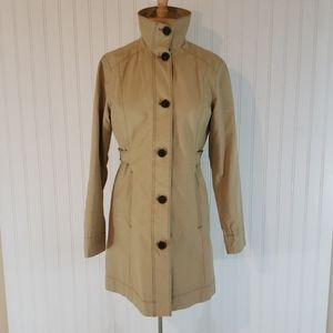 Eddie Bauer button-down trench coat tan small